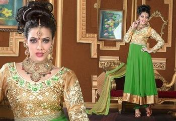 Magnificient Beige Brown & Green Salwar Kameez