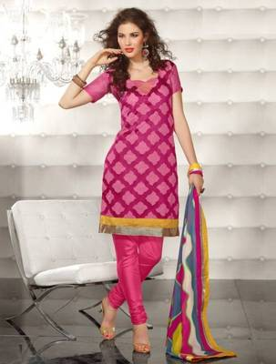 Metro Anarkali Chanderi Cotton Printed Embroidery Suit Materials D.No S1005