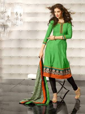 Metro Anarkali Chanderi Cotton Printed Embroidery Suit Materials D.No S1016