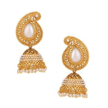 Pearl cut work jhumka jhumki Indian earringMIEA0132WH