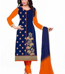 Buy Blue cotton embroidered semi stitched salwar with dupatta straight-suit online