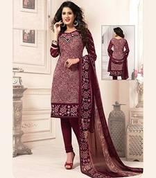 Buy Multicolor printed crepe unstitched salwar with dupatta salwar-kameez-below-500 online