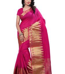 Buy pink plain Cotton saree with blouse cotton-saree online