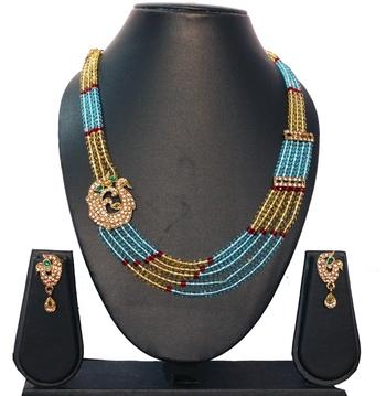 Blue Gold Green Designer Ethnic Neckalce