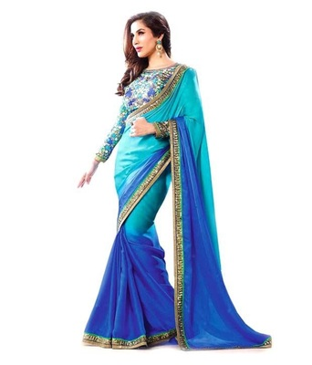 sky blue embroidered georgette sareem with blouse