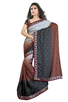 black and white embroidered georgette sareem with blouse