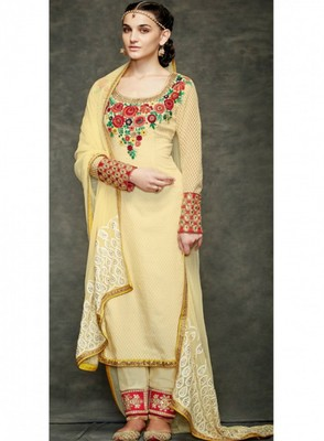 Yellow embroidered jacquard semi stitched salwar with dupatta