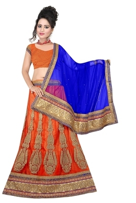 orange Indian Traditional Designer lehenga.