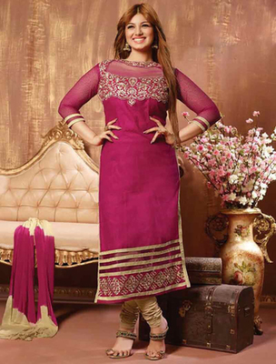 Winepink cotton embroderied semi stitched salwar with dupatta