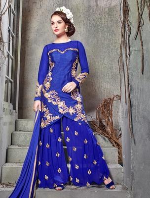 Blue banglori silk  embroderied semi stitched salwar with dupatta