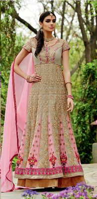 Golden and Pink embroidered Georgette semi stitched salwar with dupatta