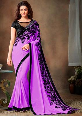 Purple embroidered georgette saree with blouse