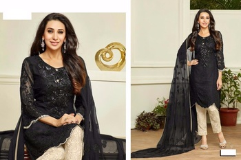 Black georgette embroidered unstitched salwar with dupatta