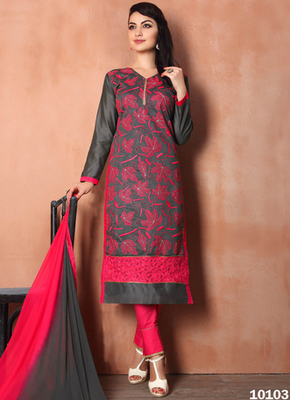 Black embroidered Chanderi and cotton semi stitched salwar with dupatta