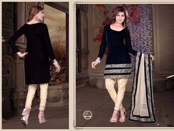 Black velvet embroidered unstitched salwar with dupatta