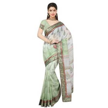 green printed cotton sare with blouse