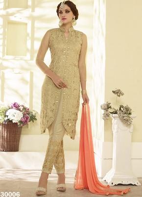 Beign embroidered georgette semi stitched salwar with dupatta