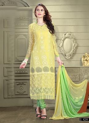 Yellow Karachi Nazneen semi stitched salwar with dupatta