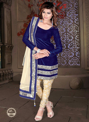 Blue Heavy Sequence velvet semi stitched salwar with dupatta