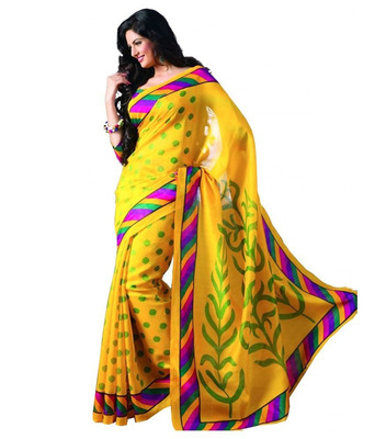 YELLOW printed art silk sare with blouse
