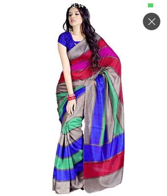 GREY printed art silk sare with blouse