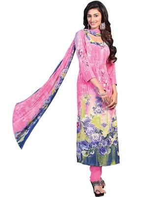 Pink printed Crepe unstitched salwar with dupatta