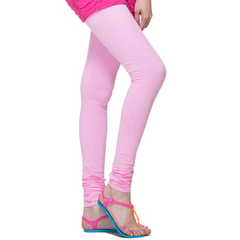 Baby Pink plain 4-Way Lycra Cotton leggings