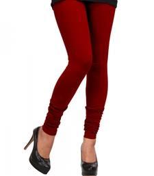 Buy Dark Red plain 4-Way Lycra Cotton leggings legging online