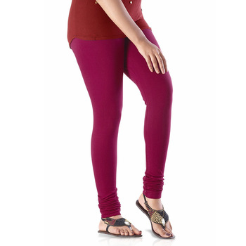 Maroon plain 4-Way Lycra Cotton leggings