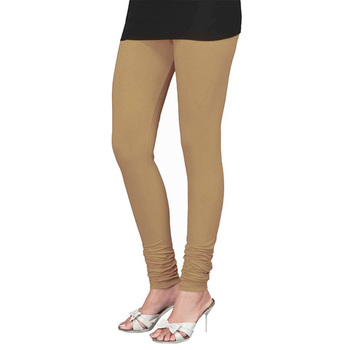 Beige plain 4-Way Lycra Cotton leggings