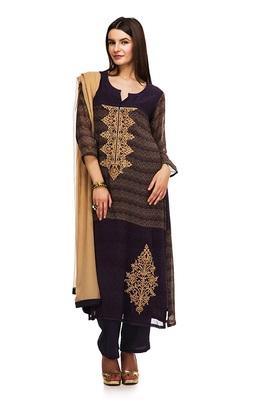 Brown georgette printed semi  stitched salwar with dupatta