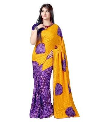 Orange and blue printed chiffon saree with blouse