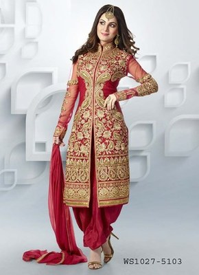 red goerget embroidered unstitched salwar with dupatta