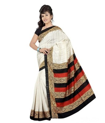 whit printed art silk saree with blouse