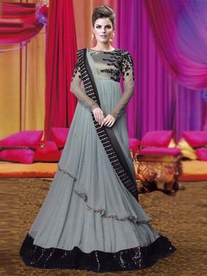 Grey Net embroidered semi stitched salwar with dupatta