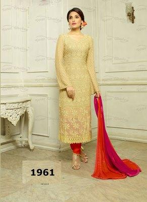 Cream Embroidered Pure Chiffon unstitched salwar with dupatta