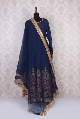Blue and gold raw silk embroidered elegant anarkali with round neck