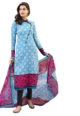 Blue and Pink and Black printed Cotton unstitched salwar with dupatta