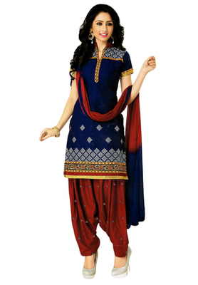 Dark Blue and Maroon embroidered Cotton unstitched salwar with dupatta