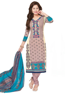 Light Pink and Cream printed Cotton unstitched salwar with dupatta