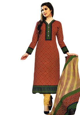 Maroon and Green and Blue printed Cotton unstitched salwar with dupatta