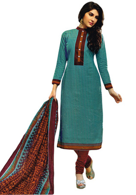 Brilliant Blue and Wine printed Cotton unstitched salwar with dupatta