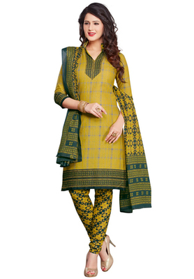Olive and Mehandi Green printed Synthetic unstitched salwar with dupatta