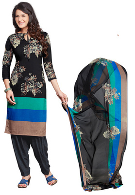 Black and Multicolor printed Synthetic unstitched salwar with dupatta
