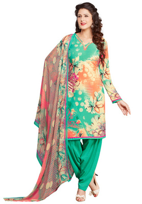 Pista and Pale Yellow printed Synthetic unstitched salwar with dupatta
