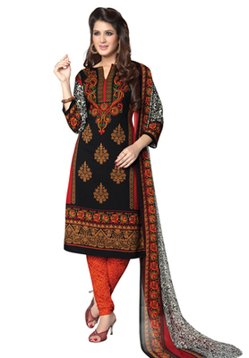 Black and Orange printed Synthetic unstitched salwar with dupatta