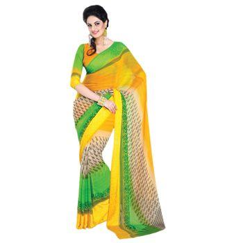 Hypnotex Chiffon and Satin patta Yellow and Cream and Green Color Designer Dress Material Lumia165