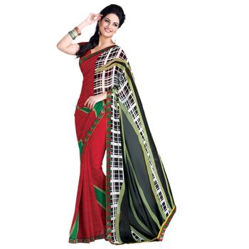 Hypnotex Georgette and patch border Maroon Color Designer Dress Material Lumia171
