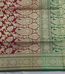 Buy Maroon hand woven silk saree with blouse banarasi-saree online