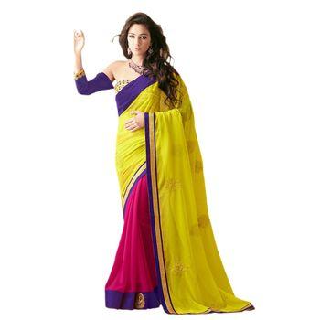 Sahiba Chiffon bright green and Rani Color Designer Saree Chamcham404
